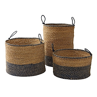These baskets are great because they hold so much and they're just flexible enough to fit that extra toy/ towel/ firewood. The sea grass basket allows you to hide the messy contents.