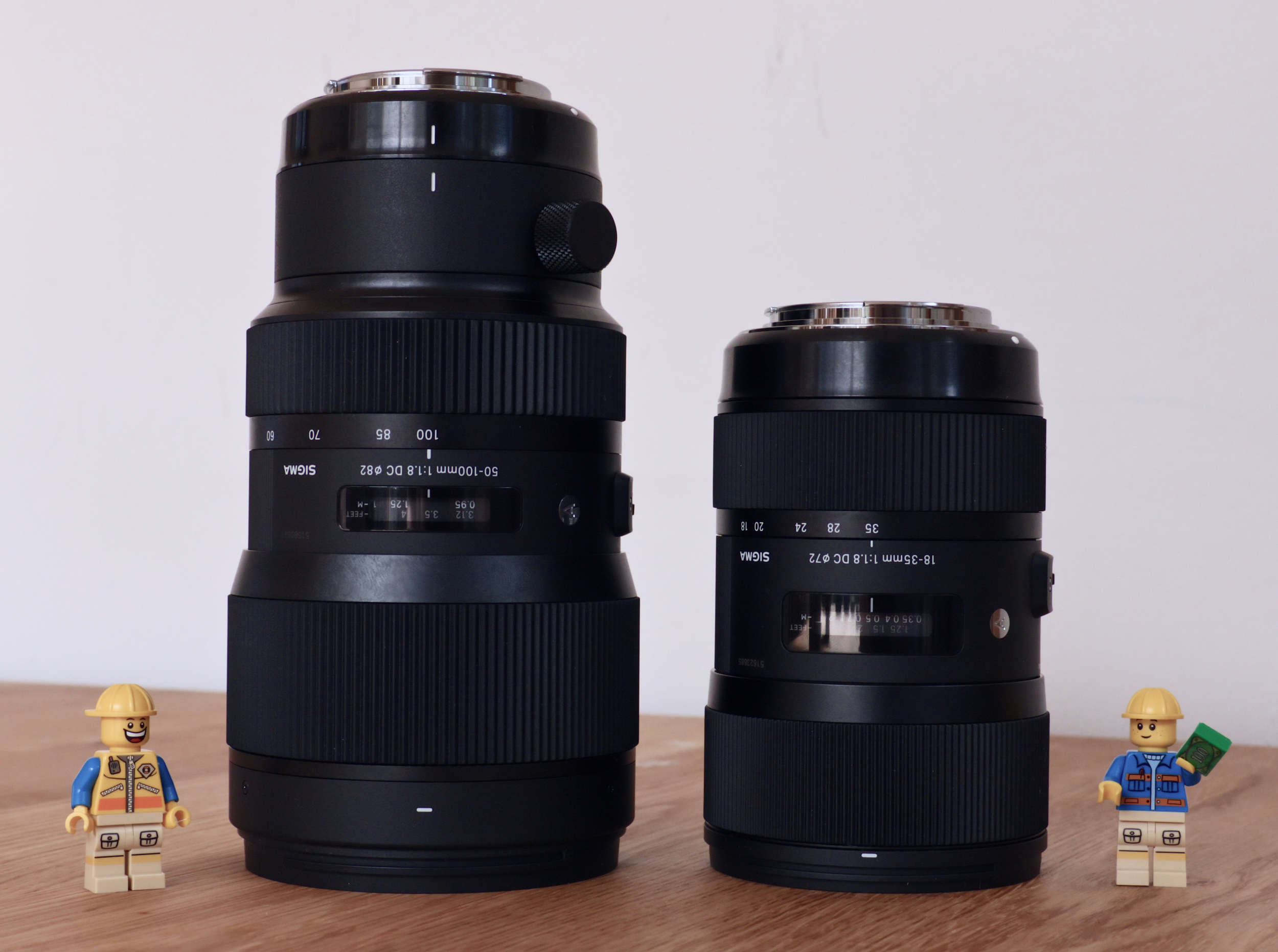 The 50-100mm f/1.8 ART (left) next to its shorter sibling the 18-35mm f/1.8 ART (right)