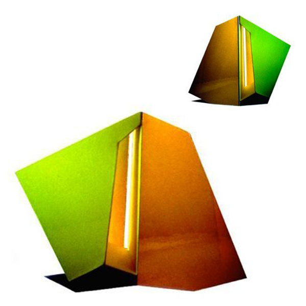 "Green Gold Stripe,  26""W x 21""H x 6""D, Front and Back Views, Cibachrome Photographs, Photography: Sculpture, 1984"