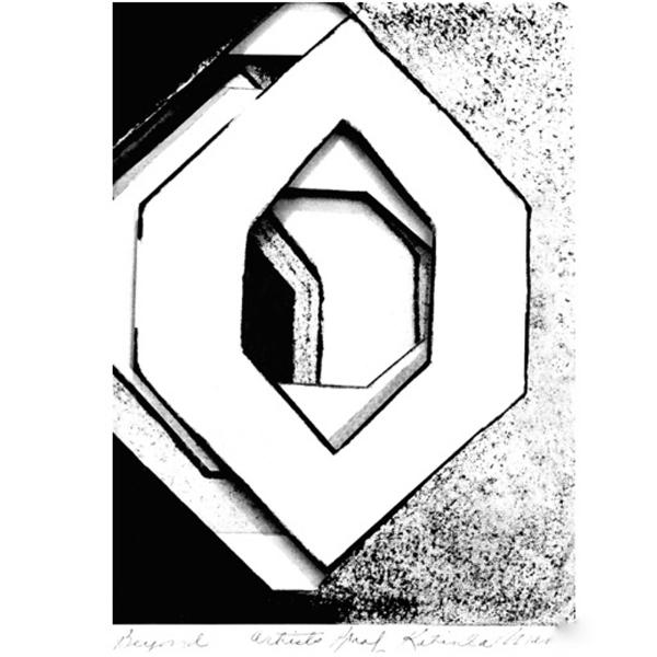 """Beyond, 5  """"  W x 7  """"  H x 1/2  """"  D, Triple Layered Intaglio Print, 1963"""