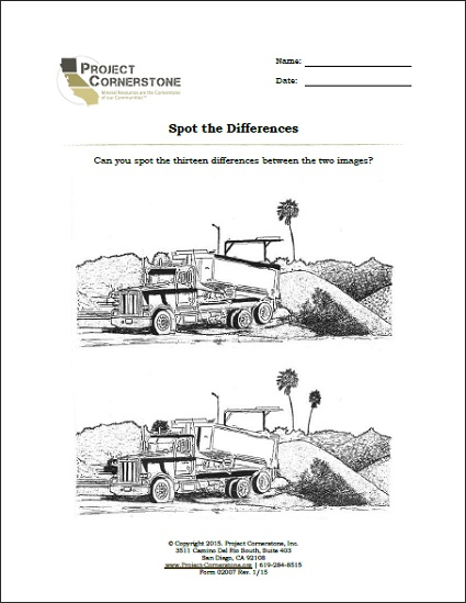 Spot the Difference (1 Page) ,  Download Key