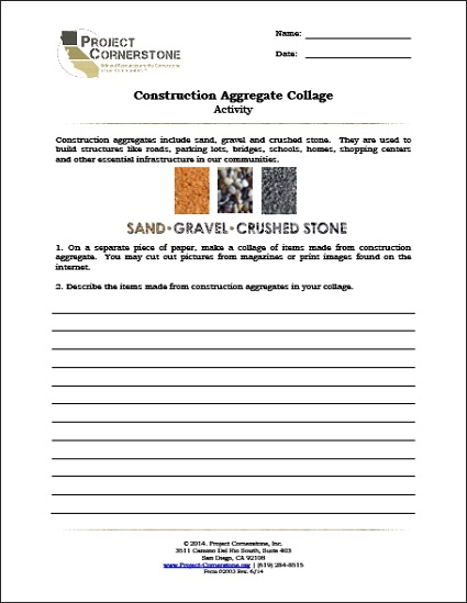 Construction Aggregate Collage Activity (1 Page)