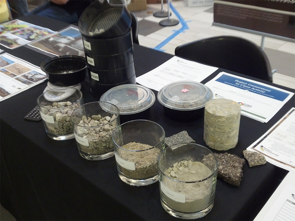 Samples of aggregates, concrete and asphalt.