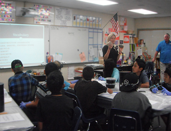 Crystal Howard educating students about construction aggregates at William H. Frazier Elementary School.