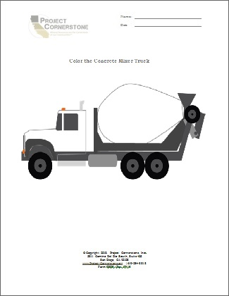 Color The Concrete Truck - 3rd-4th grade (1 Page)