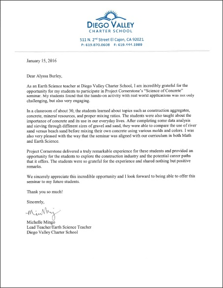 Read letter from Michelle Mingo