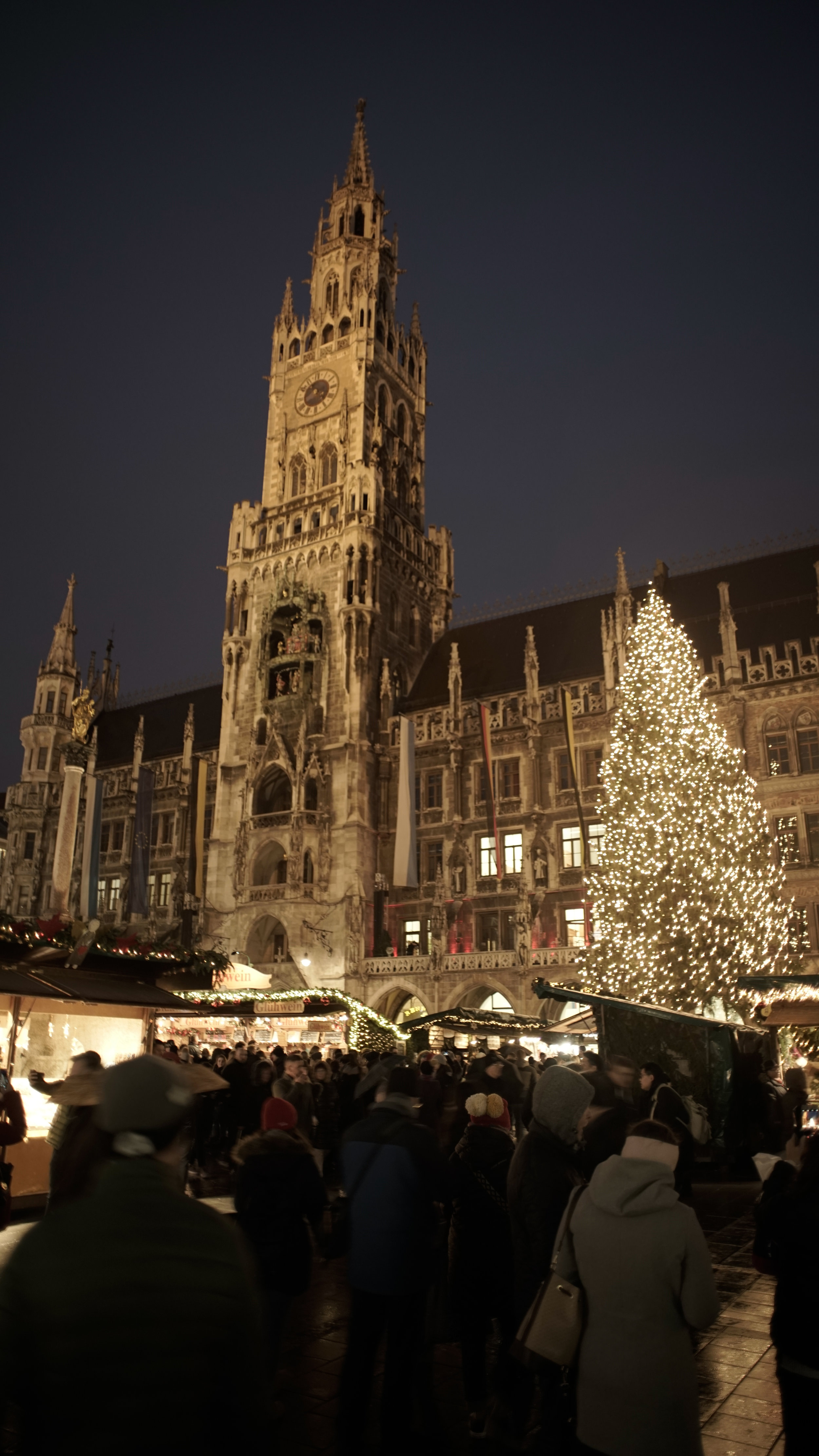 Munich Town Hall lit up for Christmas