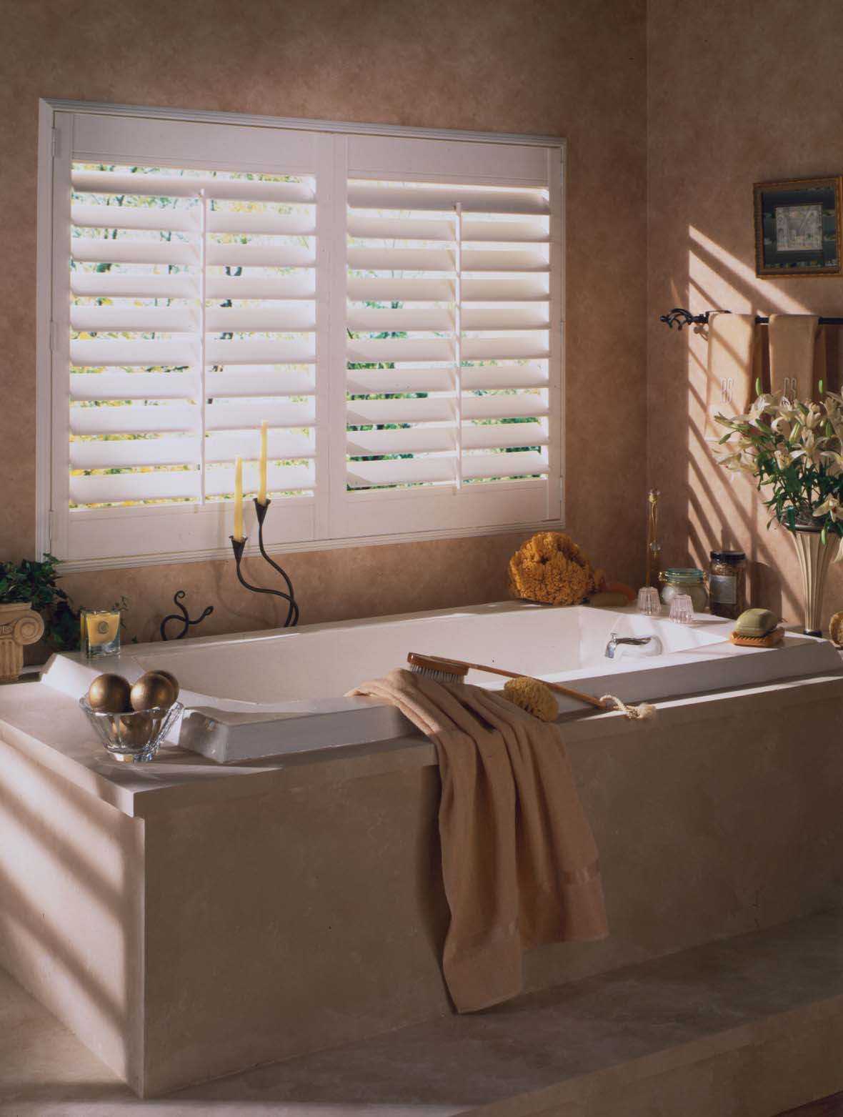 Shutters over bathtub