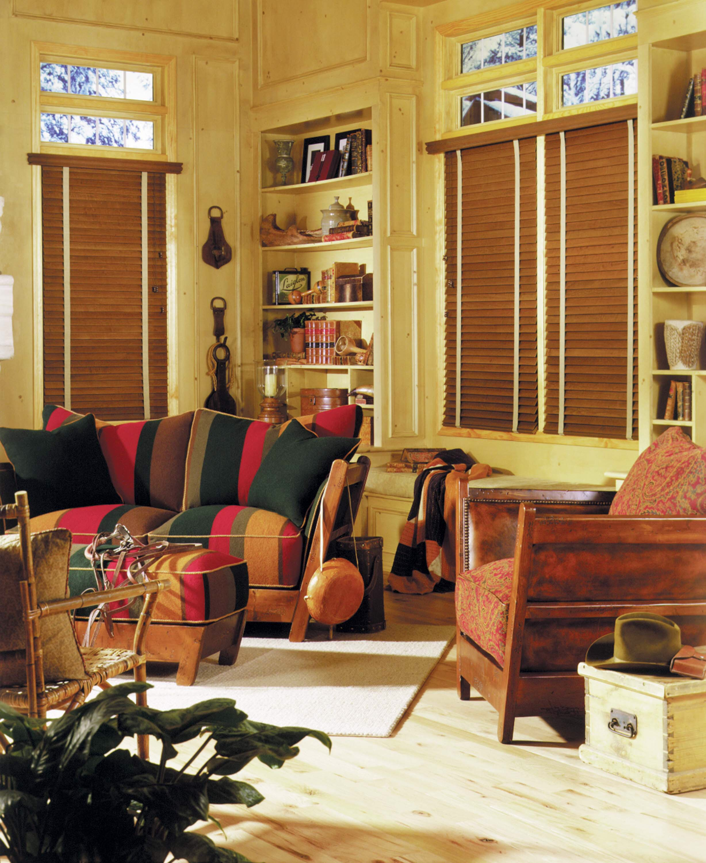 Stained wood blinds with cloth tape
