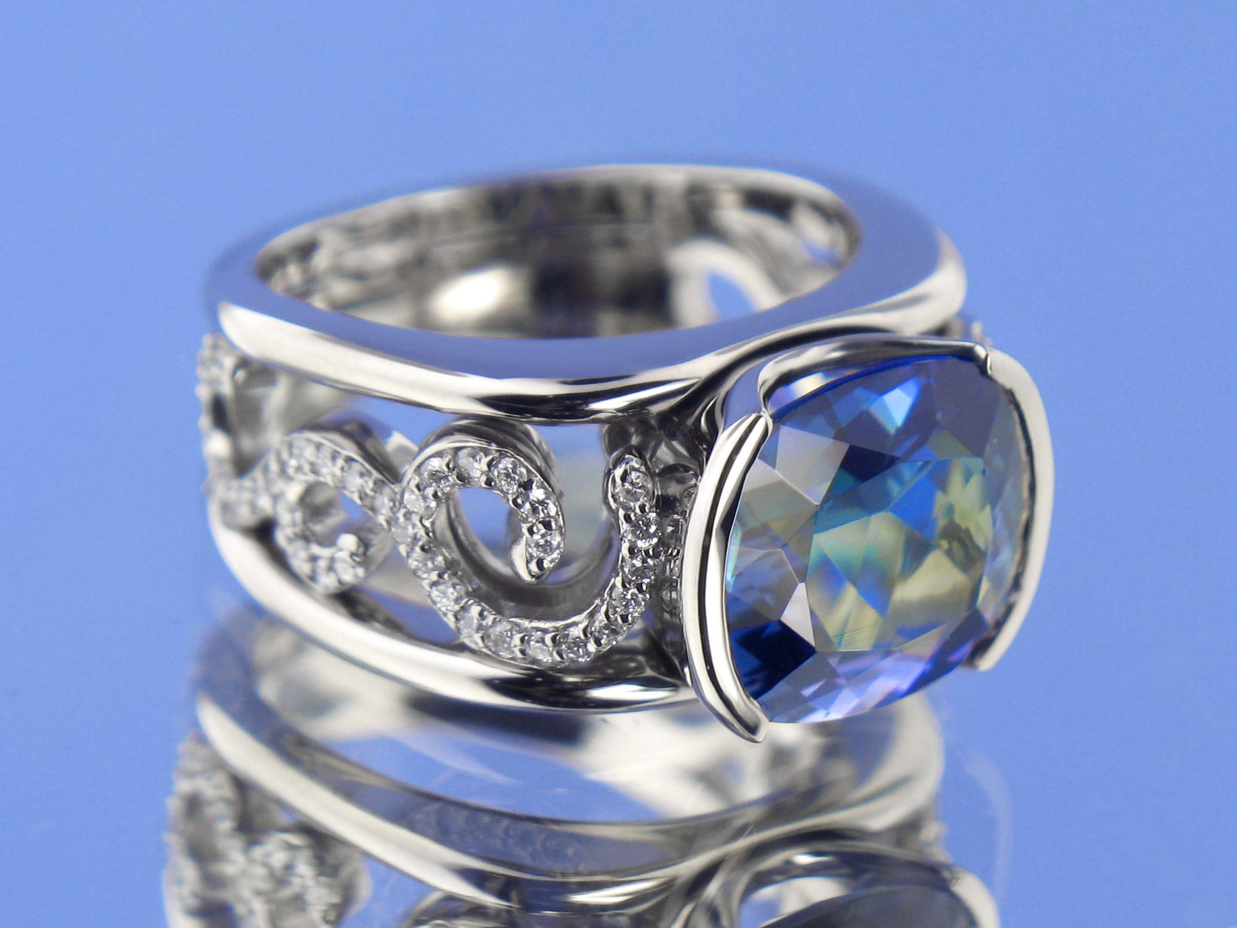Custom White Gold Swirled Pave Diamond Ring