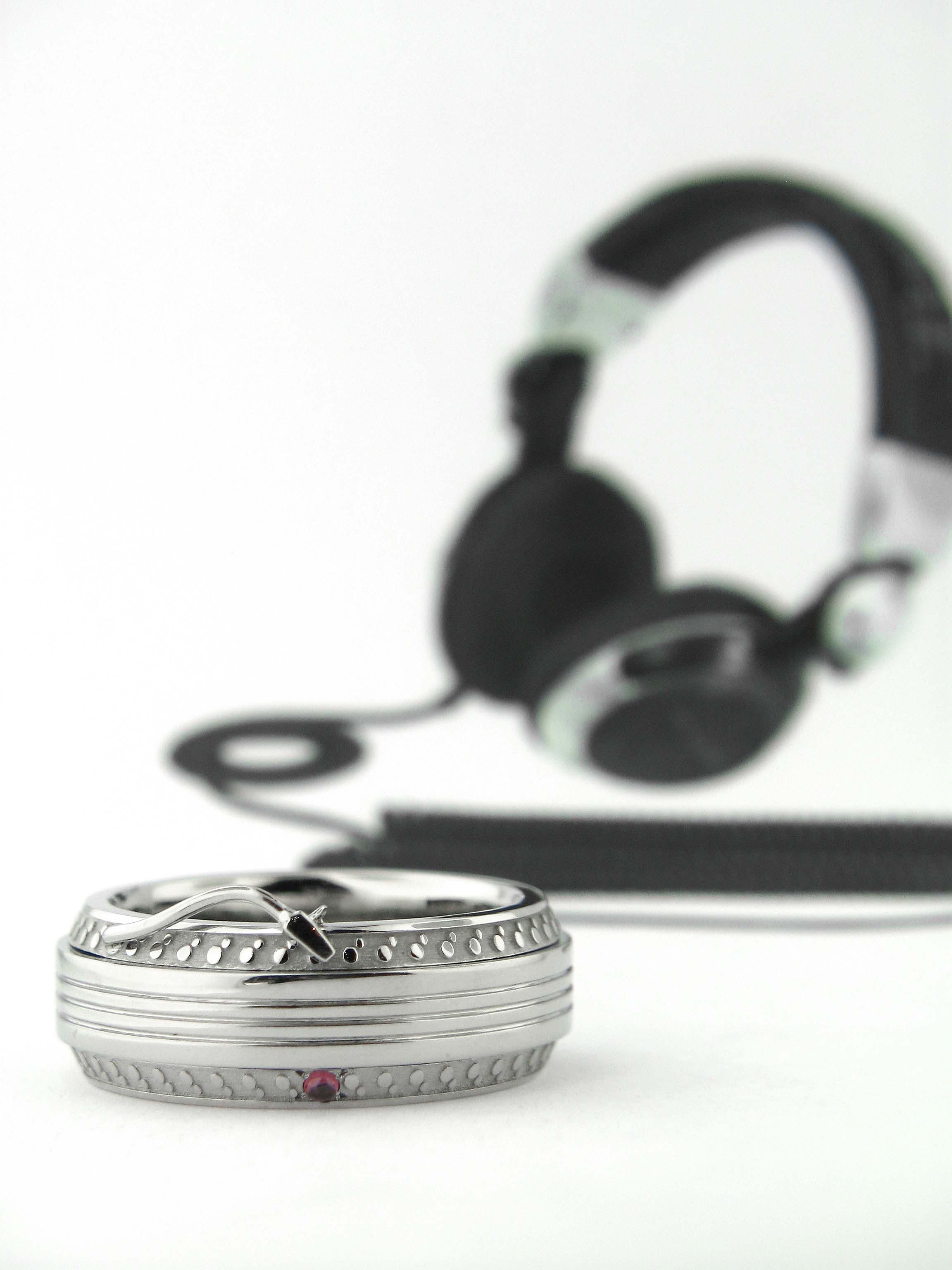 White Gold Mens Custom Ring