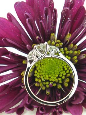 Custom White Gold Three Stone Diamond Ring