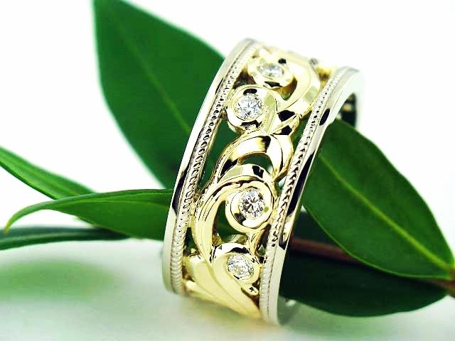 Two Tone Gold Filigree Diamond Wedding Band