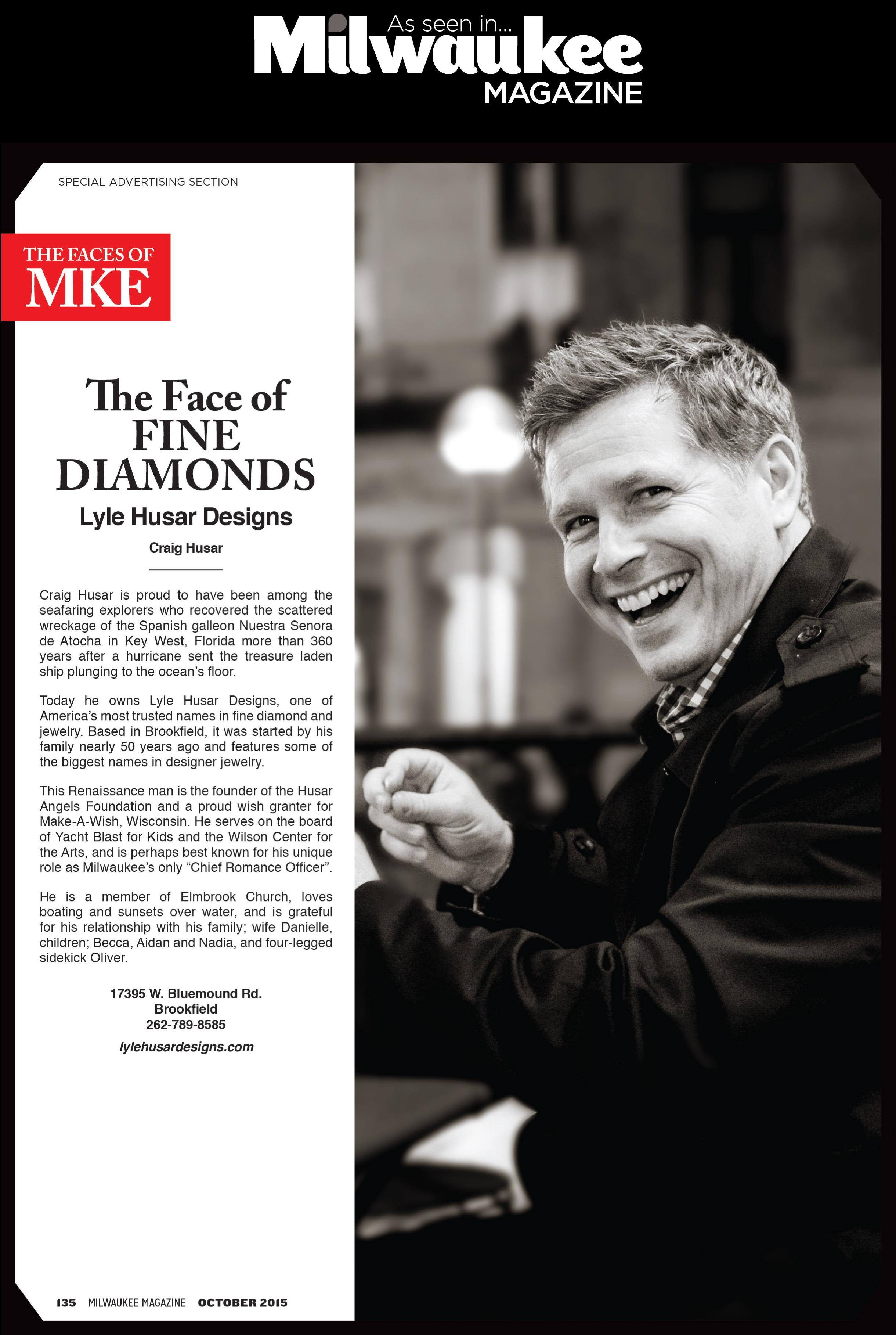 "Craig Husar, ""The Face of Fine Diamonds"", Milwaukee Magazine"