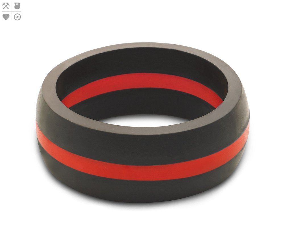 Qalo Men's Thin Red Line Silicone Ring $24.95