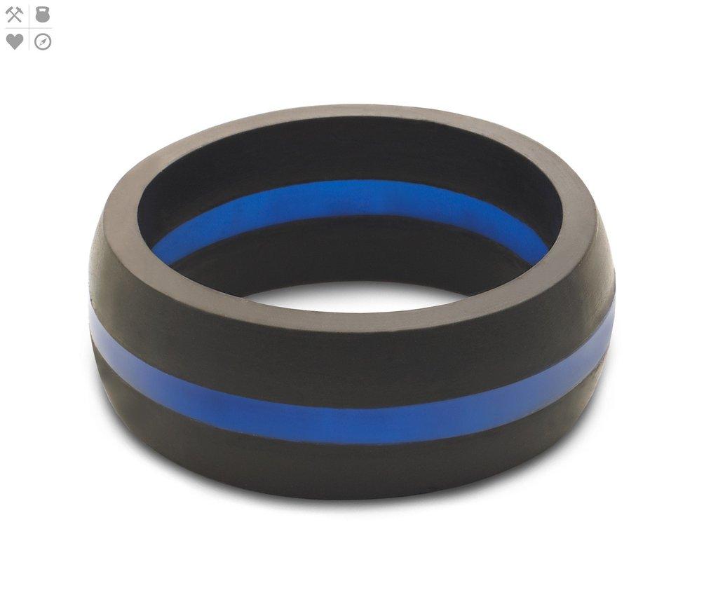 Qalo Men's Thin Blue Line Silicone Ring $24.95