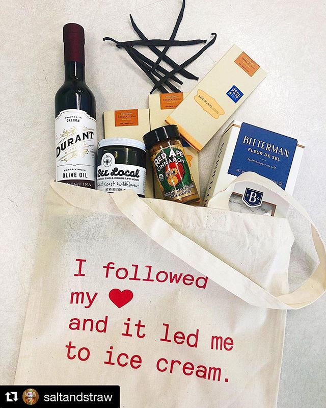 Want to win this swag bag from @saltandstraw?!! Head over to this post on their IG page and follow the instructions! • #Repost @saltandstraw with @get_repost ・・・ ⭐️ GIVEAWAY TUESDAY ⭐️ Our ice cream cookbook has been out for one week and we're celebrating by giving away 1️⃣2️⃣ swag bags stocked w/ some of our favorite ingredients in the book: @durant_oregon olive oil, @bittermansaltco fleur de sel, @beelocal honey, @xocolatldedavid chocolate, @redapecinnamon & @singingdogvanilla  HOW TO ENTER 👇 1. Make sure you're following @saltandstraw 2. Tag a friend 3. Make ANY recipe from our cookbook, 'gram a picture of it, tag us and use #saltandstrawcookbook. You can enter as many times as you want; each recipe is a new entry! Giveaway is open from 5/7-5/14. Winners will be announced then.