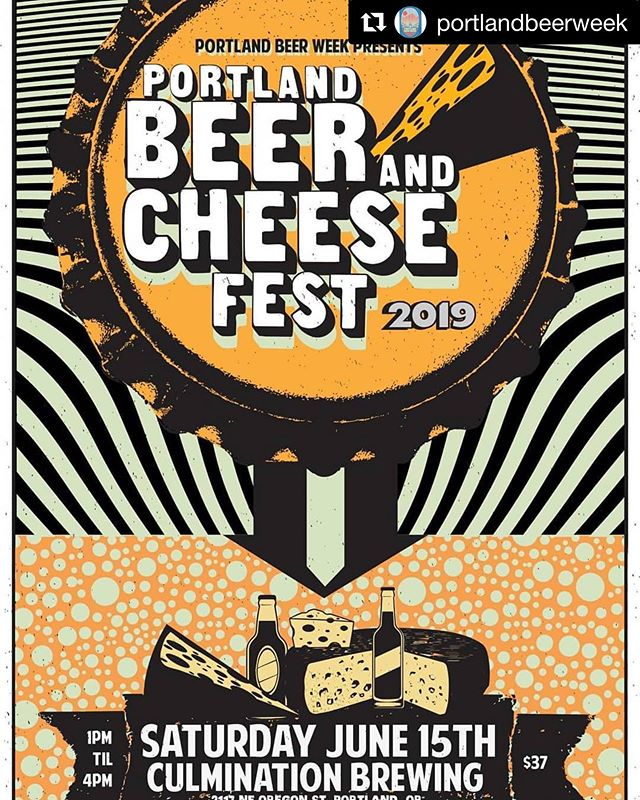 This is one of my favorite events of the year!! Get your tix ASAP! It will sell out! • #Repost @portlandbeerweek with @get_repost ・・・ New poster for the 2019 Portland Beer and Cheese Fest on Sat. June 15th. Featuring cheese pairings by @cheesebarpdx, chocolate from @xocolatldedavid and charcuterie from @tailsandtrotters. Thanks to our venue host @culminationbrewing. Tickets at pdxbeerweek.com! . . . . #cheese #beerandcheese #pdxbeerweek #pdxnow #inpdx #pdxeats @travelportland  #travelportland #visitportland