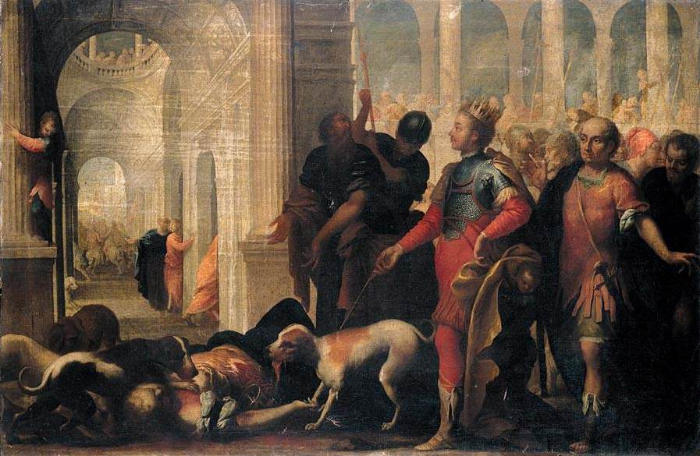 "Andrea Celesti, ""Queen Jezabel Being Punished by Jehu."" Public domain image."