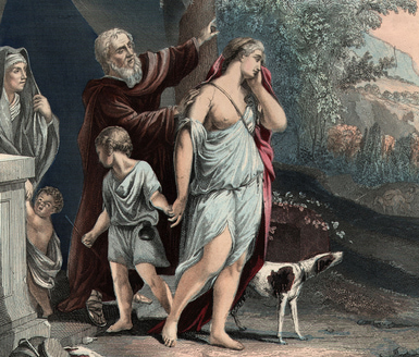Abraham banishes Hagar and Ishmael. Artist unknown. Image labeled for reuse.