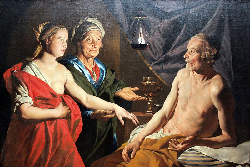 """Sarah Leading Hagar to Abraham"" by Matthias Storm. Public domain image."