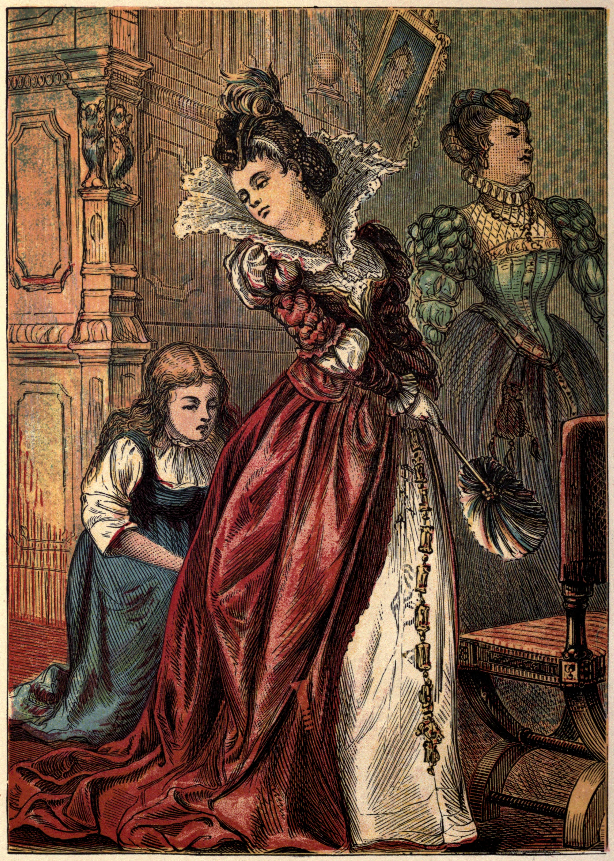 The second illustration of the 1865 edition of Cinderella. It appears on page 4. Public Domain image.