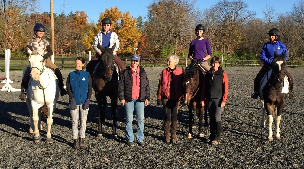 Elaine Meredeth Steele with some of the Centered Riding Clinic participants.