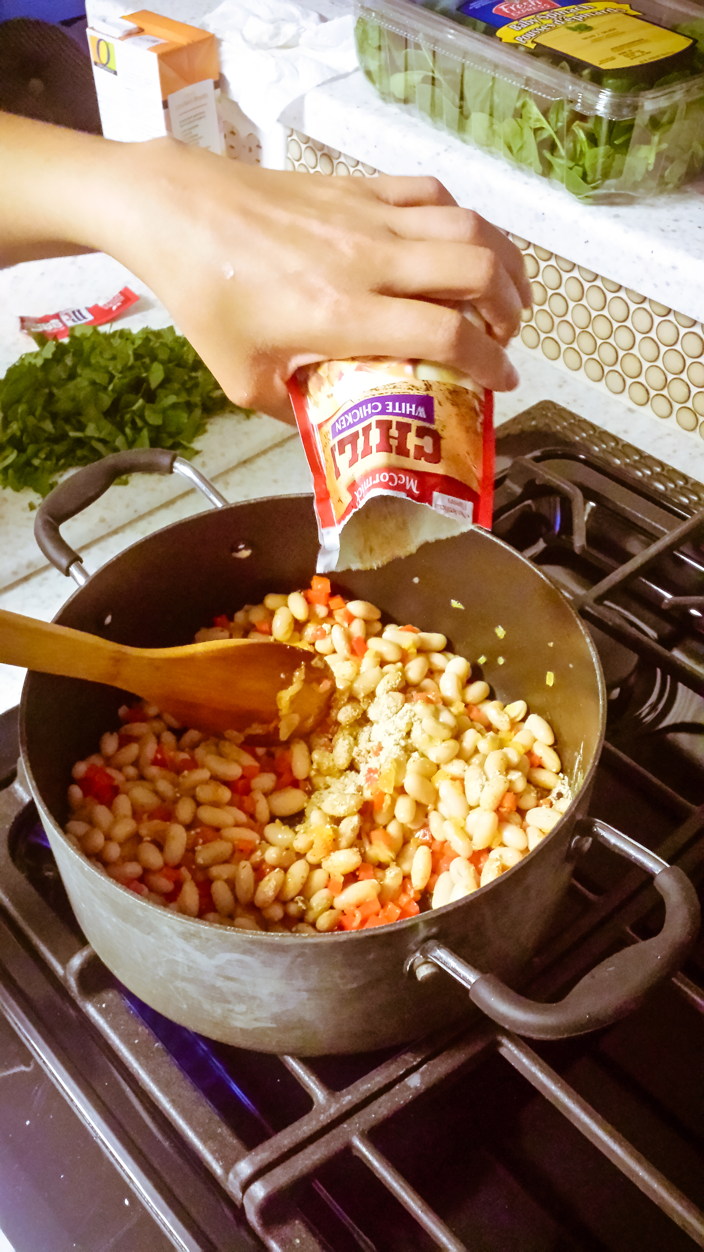 Add beans and seasoning mix
