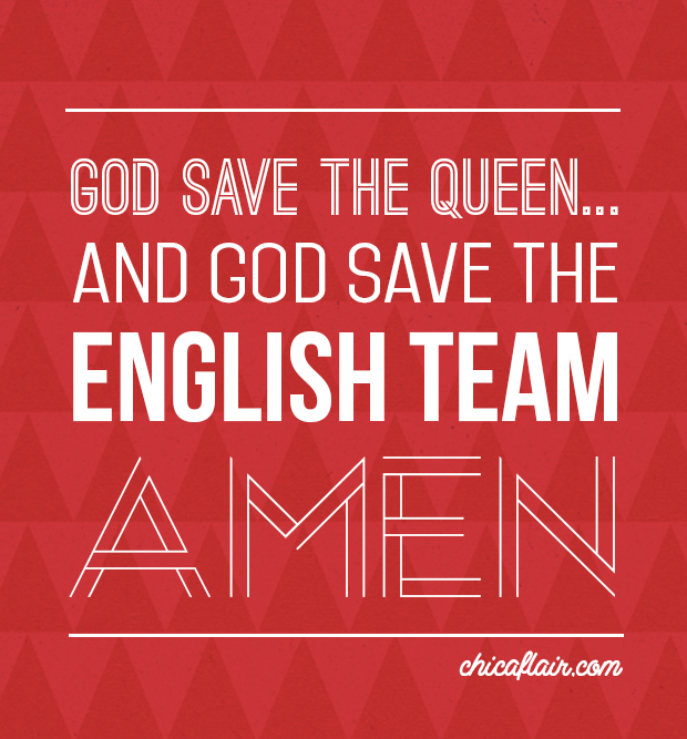 At our house the World Cup is a big deal. This is for the hubby's team....Come on England...OI!!!