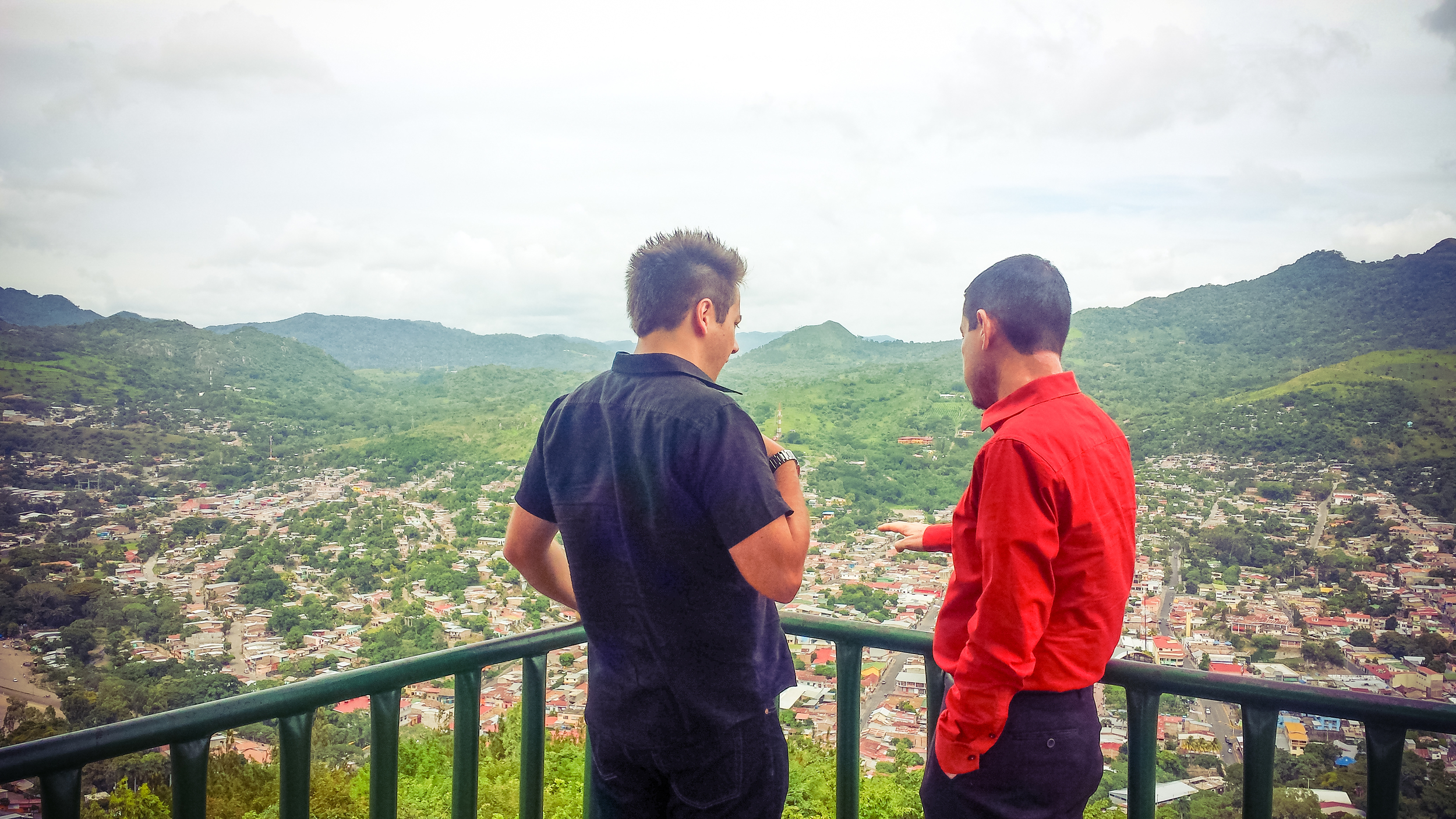 Alex practicing his spanish and Hector practicing his english as they converse about the Matagalpa view.