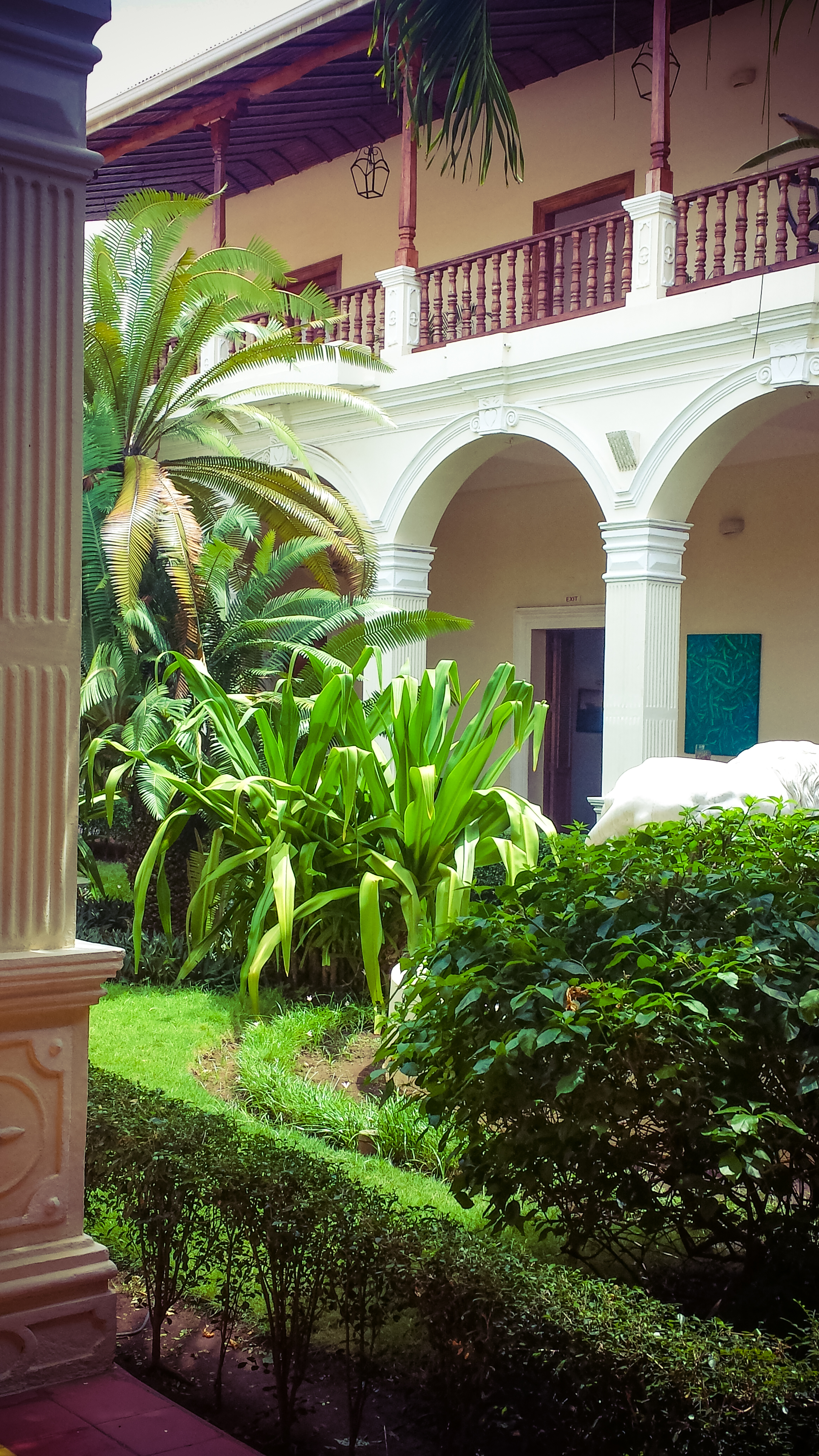 One of the courtyards in Hotel La Perla