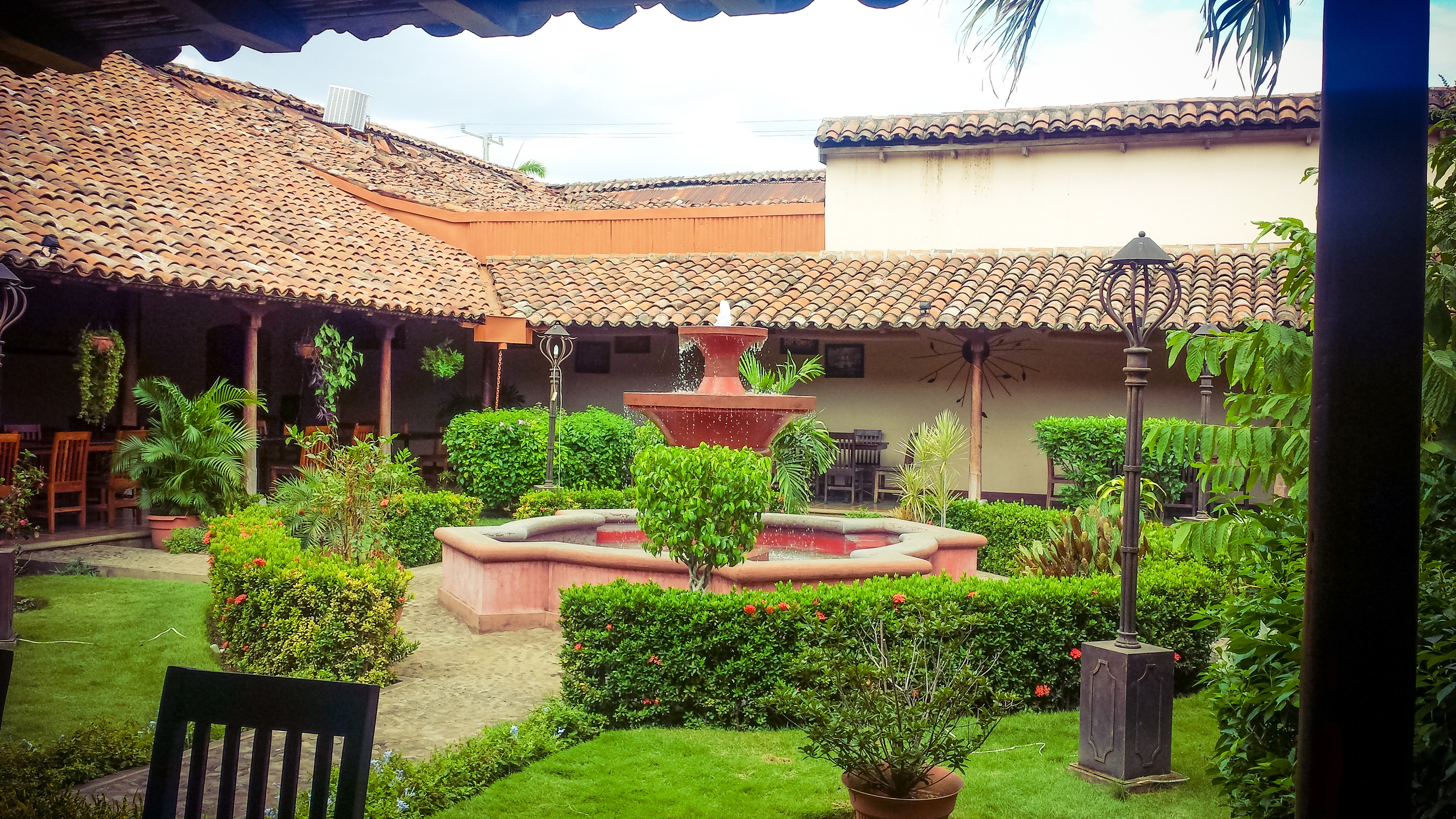 Our view while eating lunch. Courtyard at Restaurant El Carbon...the food was delicious!