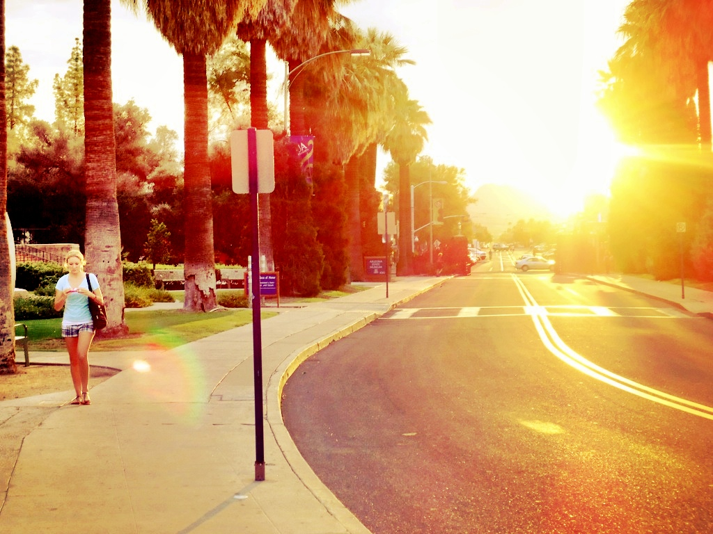 Sunset on University Blvd. at the University of Arizona in Tucson. © Nigar Fatali