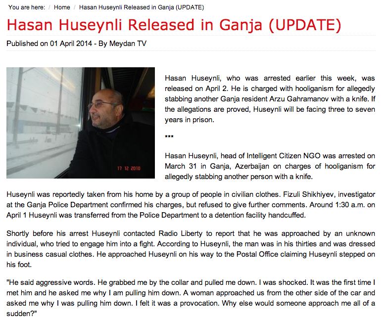 My news article on the arrest of prominent educator Hasan Huseynli in Ganja, Azerbaijan for Meydan TV.