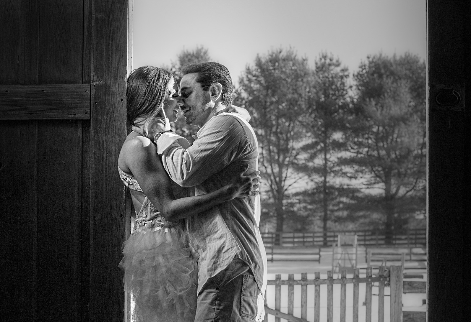 """""""THE KISS""""... Jim and Amber steal a tender moment in the barn, as her session came to an end. A few tears of joy were shed and then we popped the champagne, toasting to tomorrow."""