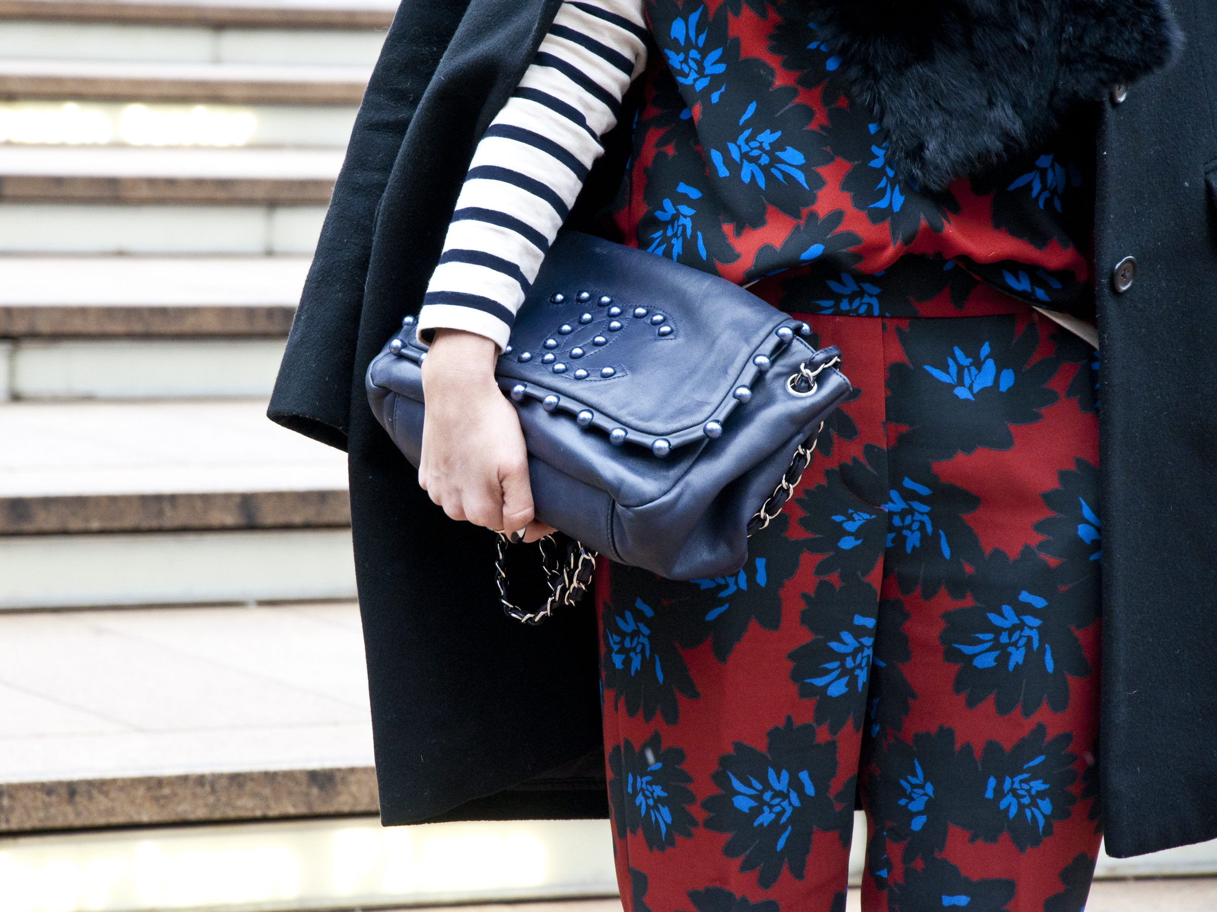 Caroline Harper Knapp - in my favorite pattern candy of the day: jumpsuit by J. Crew, paired with a bag by Chanel
