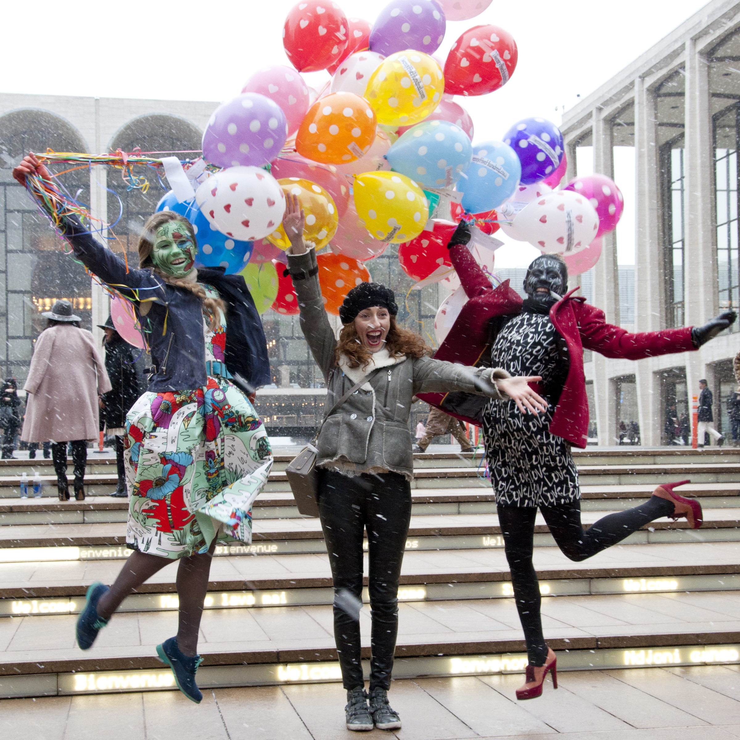 (L to R) Ksenia Lambert,Saida, and Elena Albrant spreading the love for Twenty Five Hundred , makeup by  Anastasia Durasova