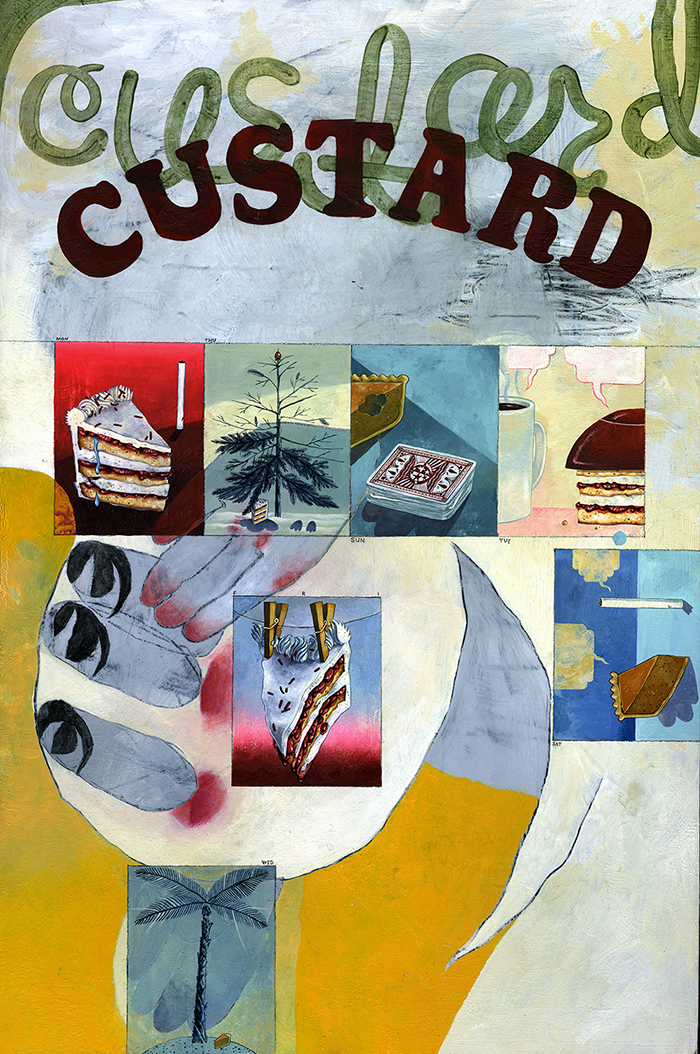 (If It's Not Me, It's) Custard, 2015 Acrylic, acrylic gouache and charcoal on board 36 x 24 inches