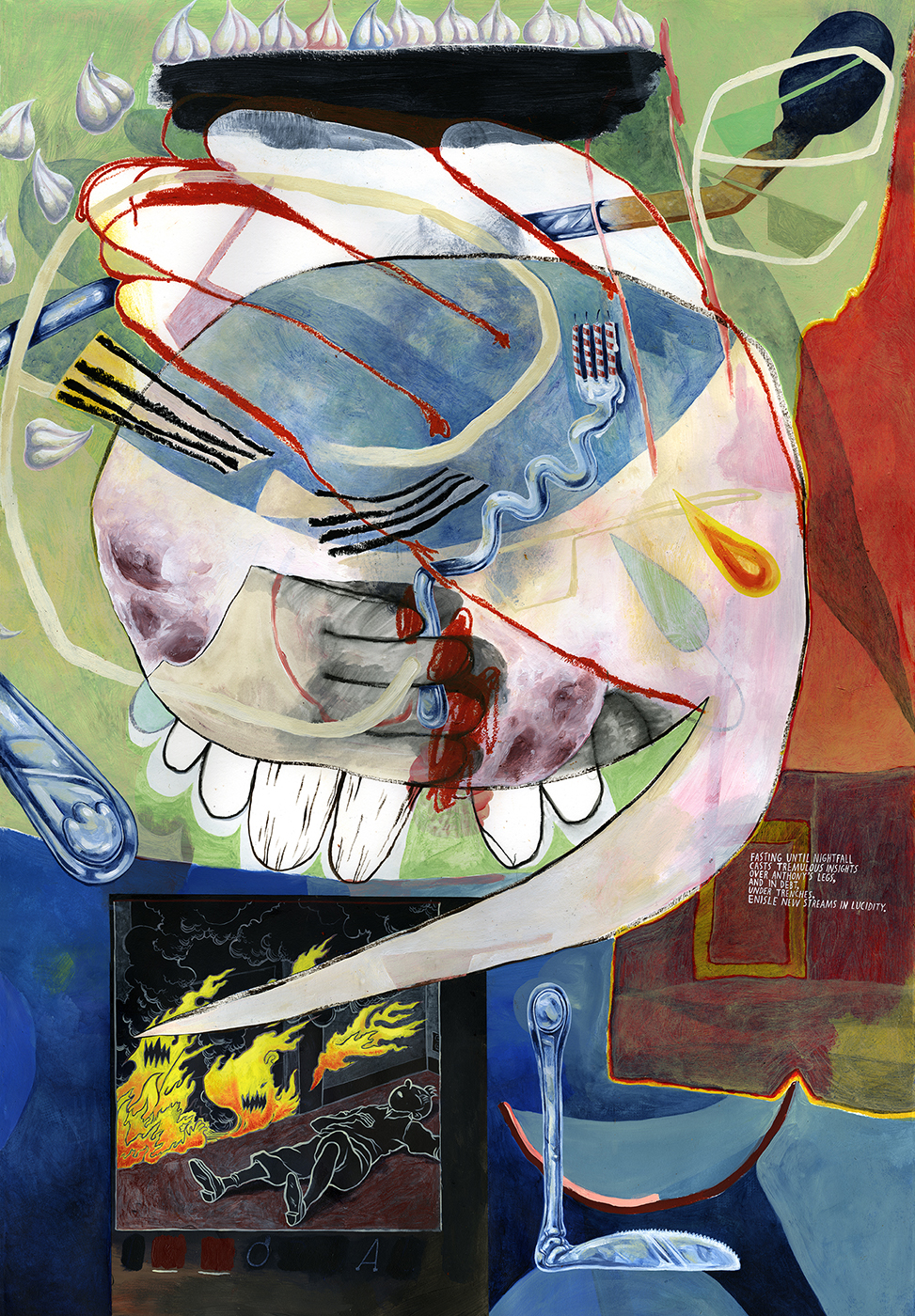Utensil , 2016 Mixed media on paper 44 x 30 inches