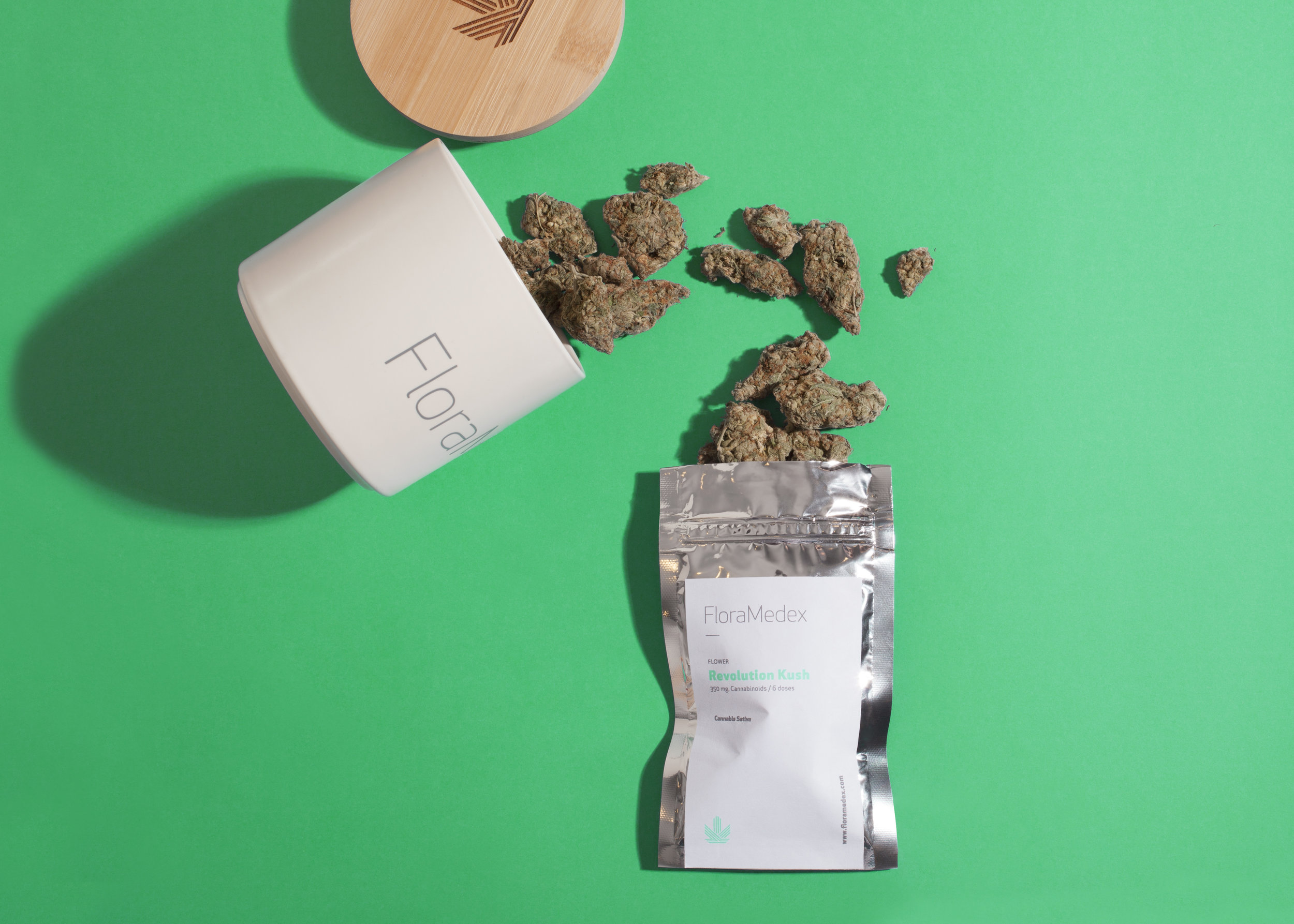 Floramedex by La Tortilleria | A Creative Company. Cannabis containers.