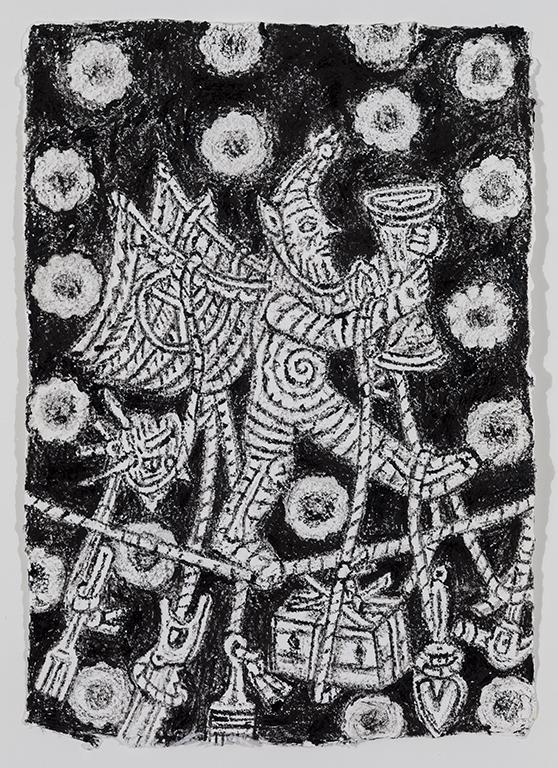 08. Kim Moodie u00ABSatyr on Tightrope with hanging tools  (2013) encre sur papier (36cm 26cm).jpg