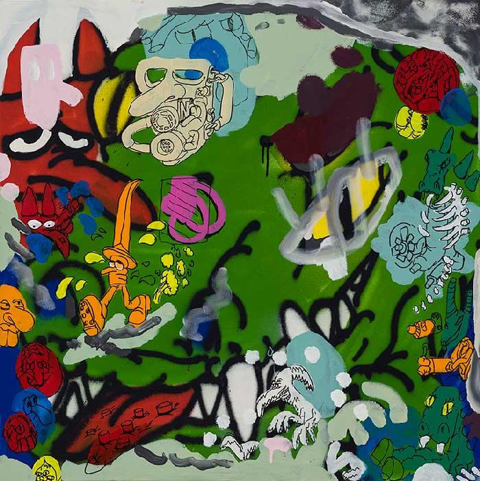 Étienne Chartrand «La mutation» (2012) technique mixte sur toile (91cm x 91cm)