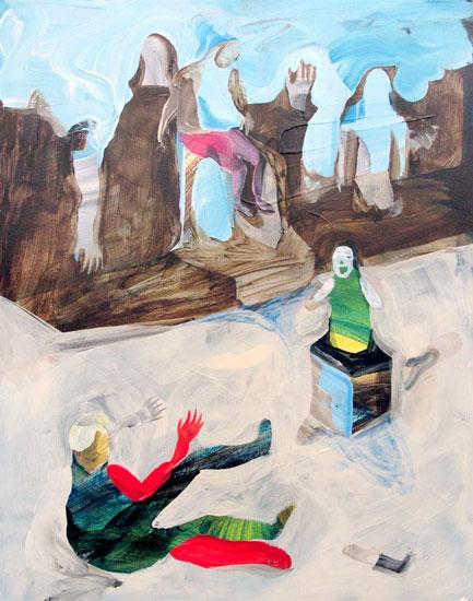 Scott Harber «Cube Ghost» (2013) technique mixte sur bois (71cm x 56cm)