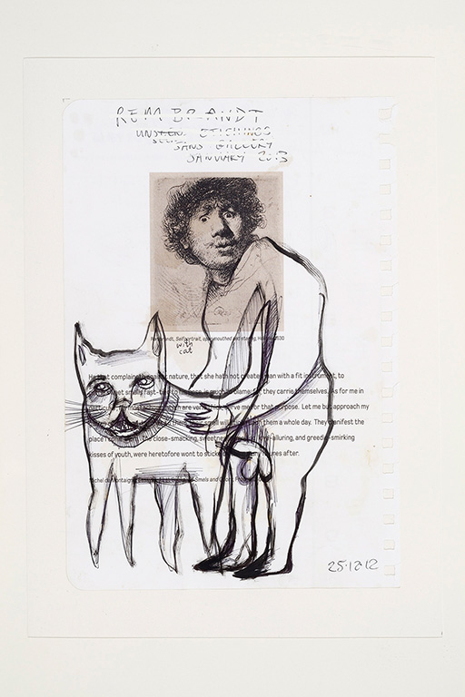 Jim Sanders 'Rembrandt Self Portrait' (2012) technique   mixte sur papier (24.5cm x 16.5cm)