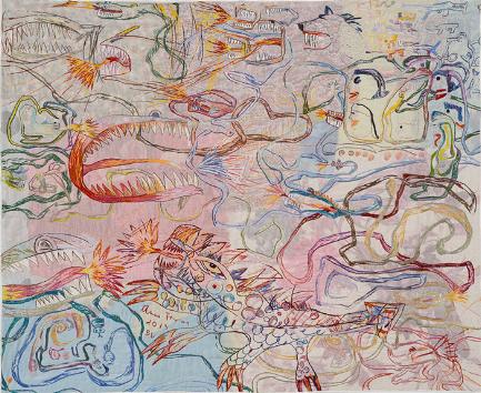 Anna Torma «Snakes» (2013 ) technique mixte sur soie (106cm x 129cm)