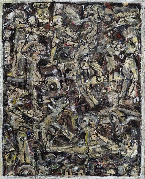 Guy Bailey  Grisaille  (2000 ) technique mixte sur toile (221cm x 180cm)
