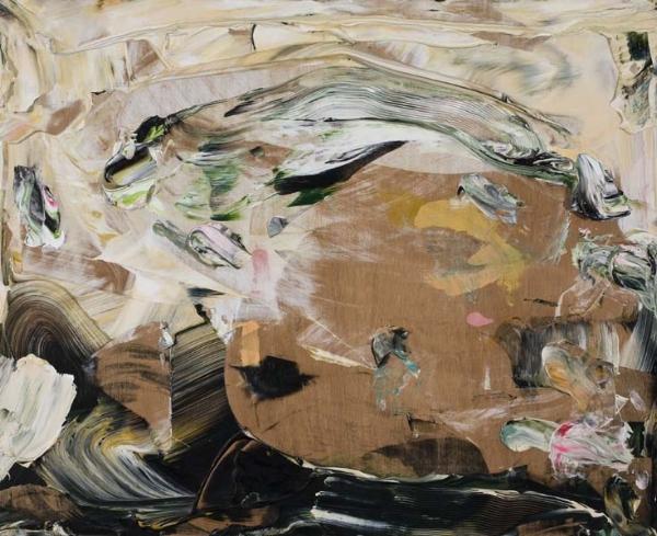 """Christiane Ainsley  Un marécage d'incertitude  (2004) acrylique sur bois (36"""" x 40"""")"""