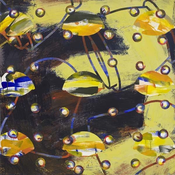 """Louise Boisseau  Pommes et poupées russes  (1996) acrylique sur toile (60"""" x 60)"""