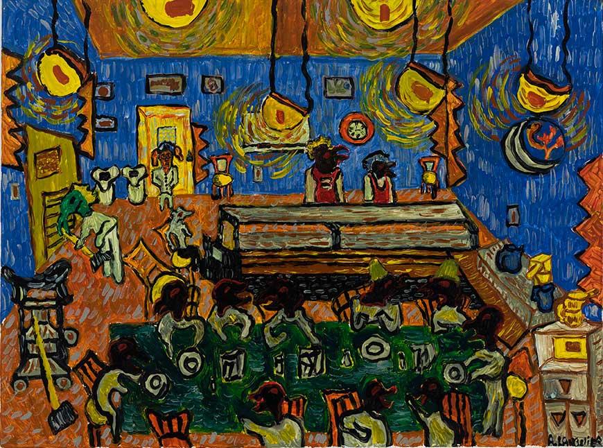 Anick Langelier  La Cène, café nuit , acrylique sur toile (76cm x 102cm)
