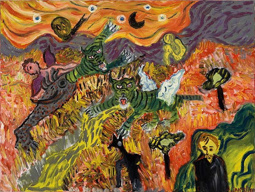 Anick Langelier  Cauchemar aux tigres , acrylique sur toile (76cm x 102cm)